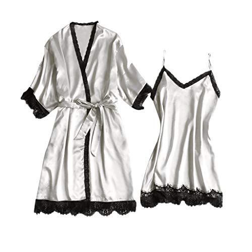 CCOOfhhc_Sleepwear Sets for Women Lace Nightgown V-Collar Satin Short Robe Kimono with Belt Two Piece Short Set White