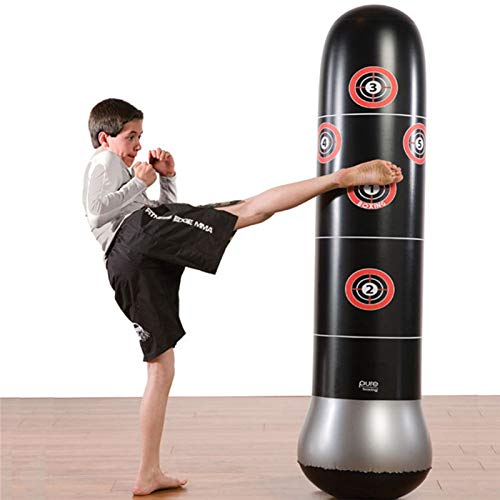 YAVOCOS Inflatable Stress Punching Tower Bag Boxing Standing Water Base Training Pressure Relief Bounce Back Sandbag with Pump