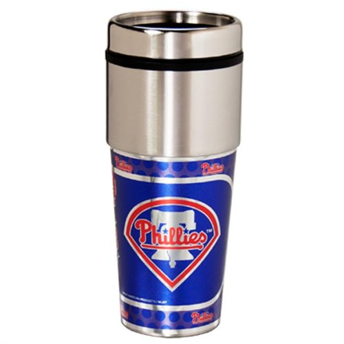 Philadelphia Phillies 16oz Travel Tumbler with Metallic Wrap