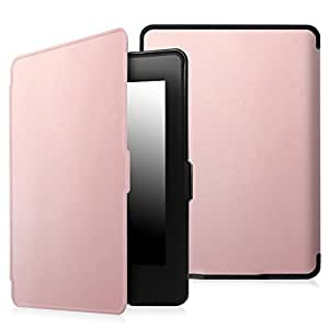 Fintie SmartShell Case for Kindle Paperwhite - The Thinnest and Lightest PU Leather Cover Auto Sleep/Wake for All-New Amazon Kindle Paperwhite (Fits All 2012, 2013, 2015 and 2016 Versions), Rose Gold