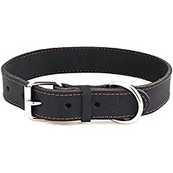 "Reopet Leather Dog Collar - Black Full Grain Latigo Leather, Soft & Durable - Best Geniune Leather Dog Collar for Medium & Large Dogs - 1.4""18-25"""