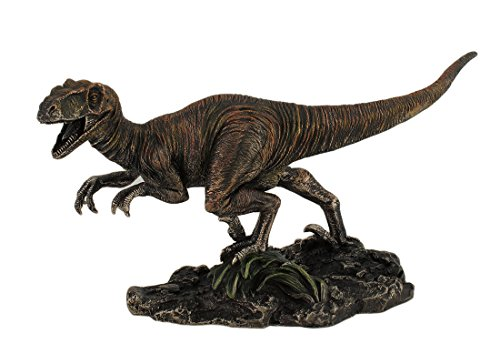 Resin Statues Highly Detailed Velociraptor Dinosaur Bronzed Statue Hand Painted Accents Raptor 8 75 X 4 75 X 3 Inches Bronze