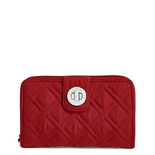 Vera Bradley Women's RFID Turnlock Wallet, cardinal red One Size ()