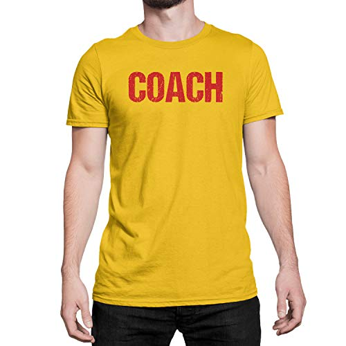 T-shirts Printed Screen - Coach T-Shirt Adult Mens Tee Shirt Front Screen Printed Tshirt (Gold-Red, Medium)