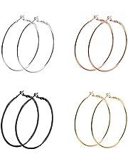 4 Pairs Hoop Earrings- Fashion Lady Women Thin Round Big Large Dangle Loop Earrings
