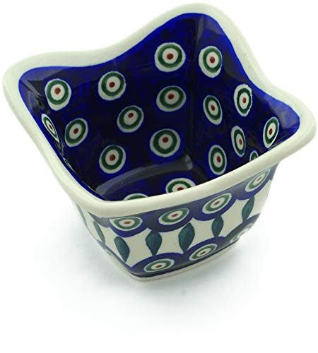 Polish Pottery 4-inch Square Bowl (Peacock Leaves Theme) + Certificate of Authenticity