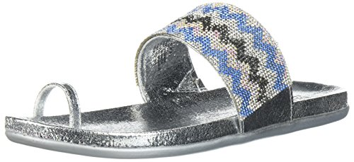 - Kenneth Cole REACTION Women's Slim Tricks 2 Toe Ring Sandal Flat, Silver/Multi, 8.5 Medium US