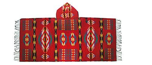 Km Women Bohemian Cloak Thicken Hooded Cape/shawl (Red)