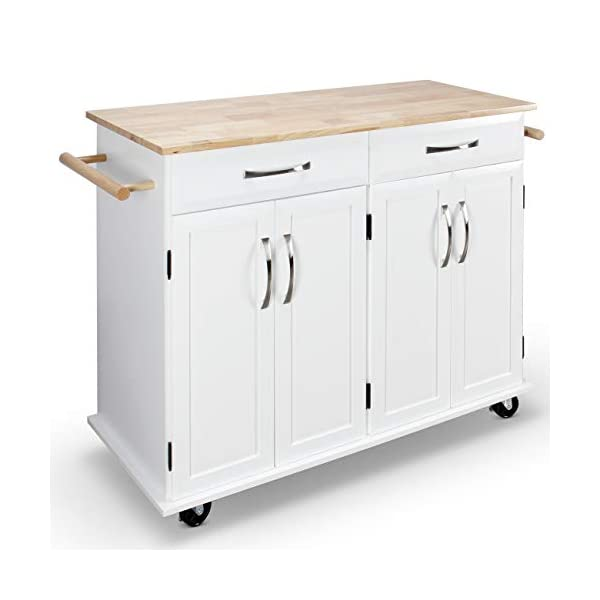 BELLEZE Rolling Kitchen Cart On Wheels Cabinet Storage Cart Island Heavy Duty Storage Rolling Trolley