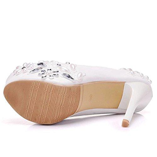 Nupcial Boda Corte Plataforma Blanco eur37uk455 Superficial Nvxie Rhinestones 3 White Señoras uk Noche 35 Paseo Zapatillas Talones Cordón Mujer Alto Eur Zapatos Cristal qwIxEt7
