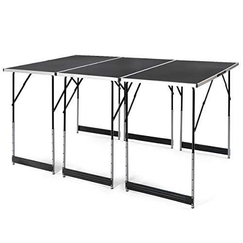 - Black Folding Outdoor Camping Picnic 3PCS Table Set Height Adjustable Indoor Multi Function BBQ Party Yard (U.S. Stock)
