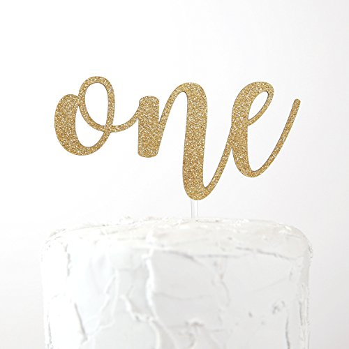 (NANASUKO 1st Birthday Cake Topper - one - Double Sided Gold Glitter - Premium Quality Made in)