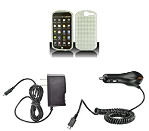 Impulse 4G (AT&T) Premium Combo Pack - Clear Thermoplastic Polyurethane TPU Gel Skin Case Cover + Atom LED Keychain Light + Wall Charger + Car Charger