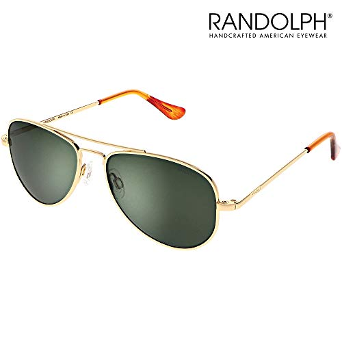 Concorde Aviator Sunglasses for Men or Women - Randolph Engineering Sunglasses, Guaranteed for Life, Built to Military Specifications, Authentic Pilot Aviators. Made in USA. 23k Gold, AGX Green, 57mm (Sonnenbrille Aviator Schwarz)