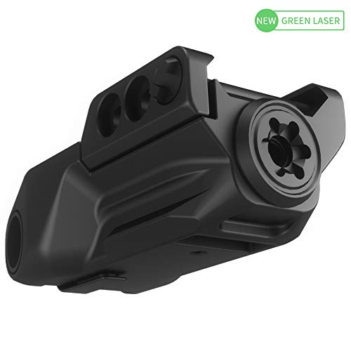 Laspur Sub Compact Tactical Rail Mount Low Profile Green Laser Sight, Build-in Rechargeable Battery for Pistol Rifle Handgun Gun (Sensory Switch)