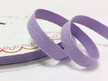Bertie's Bows 10mm Lilac Cotton Herringbone Tape/Webbing on a 4m Length (N.B. this is a cut from a roll, presented on a Bertie's Bows card) Bertie's Bows