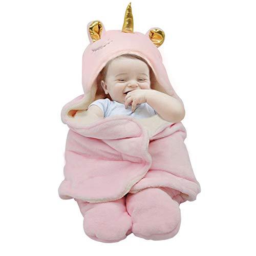 Aumicu Newborn Baby Girl Clothes,Soft Plush Unicorn Baby Wrap Swaddle Blanket,Sleeping Sack,Receiving Blankets for Baby Girls 0-6 Months,Baby Girl Shower Gifts(Pink)