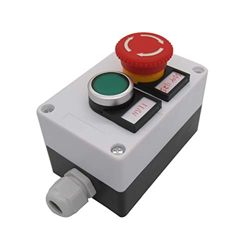 Button Mushroom Push Switch - TWTADE/Green Momentary Push Button Switch 440V 10A 1NC 1NO,Red Mushroom Emergency Stop 1NC 1NO Latching Push Button Switch Station Box (Quality Assurance for 3 Years) hz-11ZS-G