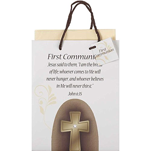 Jesus Gift Bag (First Communion Burlap Patch Medium Tissue Paper and Gift Bags with Handles 3 Pack)