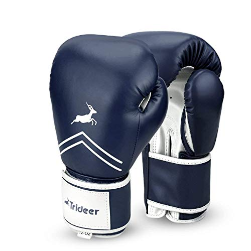 Trideer Pro Grade Boxing Gloves, Kickboxing Bagwork Gel Sparring Training Gloves, Muay Thai Style Punching Bag Mitts, Fight Gloves Men & Women (Midnight Blue, 10 oz)
