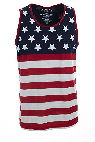 Pacific Surf Patriotic American Flag Stars and Strips All Over Tank Top Shirt 358 S (Shirt Star Flag)