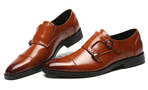 On Double Strap Oxford Dress Fashion Loafer For Slip Mens Men Monk Shoes Tan Italian Leather qTwYCI8