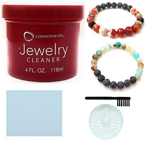 CONNOISSEURS Jewelry Cleaner, for Diamond, Gold, Platinum & Precious Stones Bonus Basket and Brush (4 Fl.Oz Jewelry Cleaner) ()