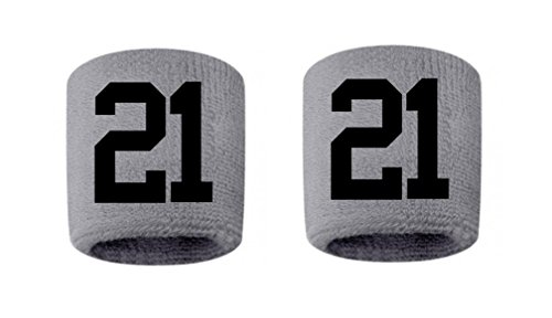 #21 Embroidered/Stitched Sweatband Wristband GRAY Sweat Band w/ BLACK Number (2 Pack)