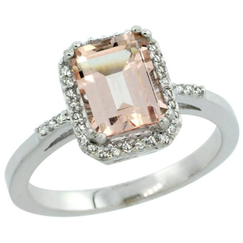 Revoni - Bague Femme - Argent Fin 925/1000 - Morganite forme Emeraude 1.6 Cts - Diamant Rond brillant 0.11 Cts