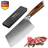 Aroma House Chinese Chef's Knife-7 inch Vegetable and Meat Cleaver Knife, German Stainless Steel Kitchen Knife with Full-tang Pakkawood Handle for Home, Kitchen & Restaurant, Gift Box