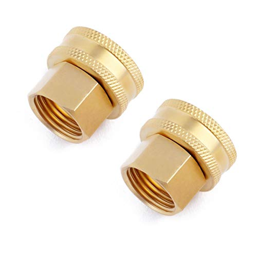 Litorange (2 Pack Industrial Metal Brass Garden Hose to Hose Fitting Connect, Green Thumb Quick Swivel Connector Adapter,Double Female Thread Size 3/4