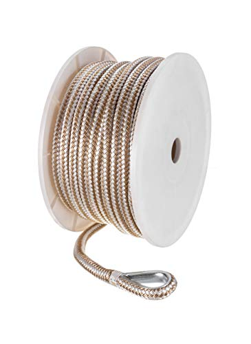 - Seachoice 42361 Anchor Rope for Boating - Double Braid Nylon Anchor Line, ½-Inch x 100 Feet, Gold/White
