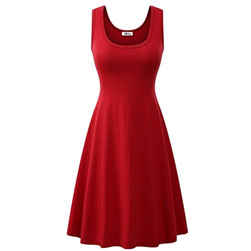 Herou Women Summer Beach Casual Flared Midi Tank Dress (XX-Large, Dark Red)
