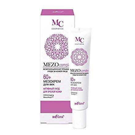 Bielita & Vitex Mezocomplex 60+   Cream for Area Around the Eyes for Mature Skin, 20 ml.   Hyaluronic acid, Caffeine, Peach Seed Oil