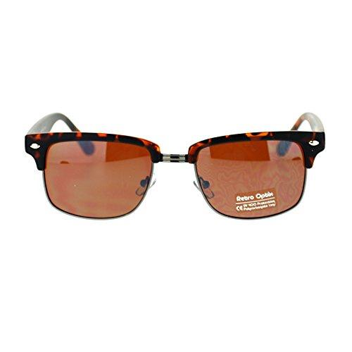 Mens Narrow Half Rim Wayfarer Clubmaster Sunglasses Tortoise - Clubmaster Gunmetal