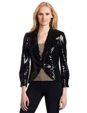AK Anne Klein Women's Sequin Blazer, Black, 10