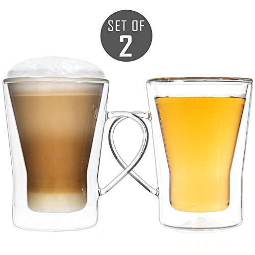 Tealyra - GEMINI 10.1-ounce - Set of 2 - Large Double Wall Glass Mug With Handle - Heatproof Insulating - Keeps Beverages Hot - Perfect Clear Cup for Tea - Coffee - Cappuccino - Gift Box - 300ml (Mugs Latte Best)