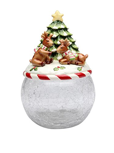 Cosmos Gifts 10638 Reindeer Tree Glass Cookie Jar with Ceramic Lid, 9-3/8-Inch (Angels Snowman Night Light)
