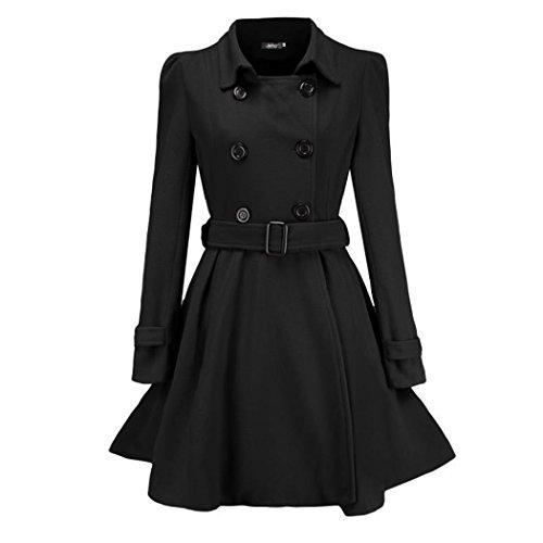 Ruffle Peacoat (Raylans Women's Ruffle Double Breasted Belted Pea Coat Mid-Length Jacket Black)