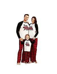 Yaffi Family Matching Pyjamas Set Christmas Festival Outfits Bear Printed Nightwear with Plaid Pants