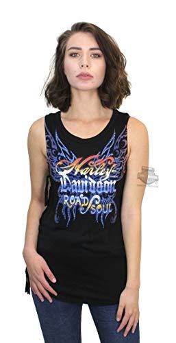 - Harley-Davidson Womens Zephyr Classic Wings with Fringe Ties Black Sleeveless Tank by MJCK (Medium)