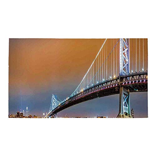 "C COABALLA Apartment Decor Rectangular Bath Rug,Ben Franklin Bridge and Philadelphia Skyline Viewed from Camden Across The Delaware River Decorative for Bathroom,32"" L x 20"" W"