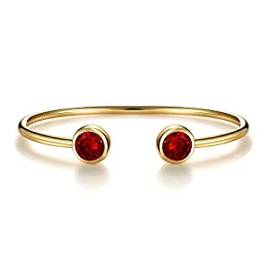 """""""Color Of Dream"""" 12 Months Simulated Birthstone Cuff Bracelet With Crystal Gold Plated Bridesmaid Gift"""