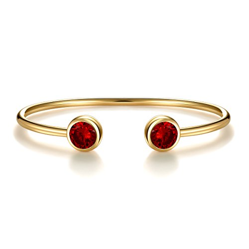 (January Simulated Garnet Birthstone Cuff Bangle Bracelet Crystal Gold Plated Bangle Bar Birth Month Charm Valentine's Day Gifts for Women Birthday Gifts for Girlfriend Anniversary Gifts for Her)