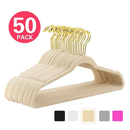 MIZGI Premium Velvet Hangers (Pack of 50) Heavyduty - Non Slip - Velvet Suit Hangers Ivory - Gold Hooks,Space Saving Clothes Hangers (Ivory)
