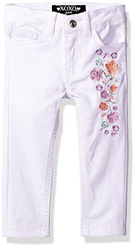 XOXO Toddler Girls' Stretch Twill Pant, White, 4T