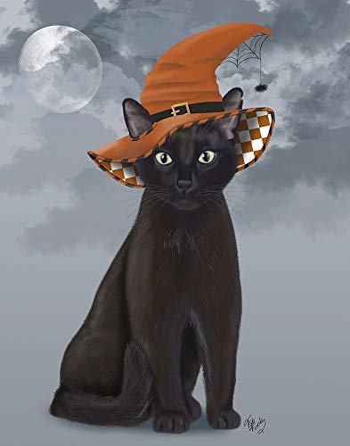 Halloween Black Cat in Witches Hat by Fab Funky 31