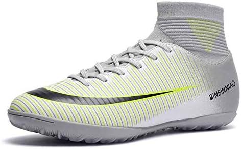 靴 人のための最高の滑り止めの身につけられるおよび快適なフットボールのブーツのサッカーのクリート (色 : TF White, サイズ : 9.5)