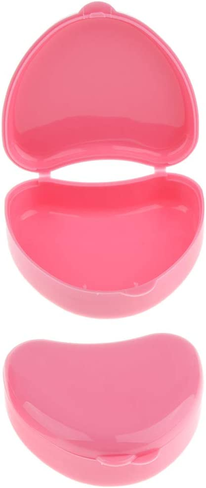 Fityle Cute Mini Denture Box Travel Case,Orthodontic Retainer Box, Mouth Guard Container, Keep Mouthguard Dry and Clean-2 Pack - Pink