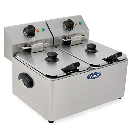 Stainless Steel 2 * 4 Liter Oil Capacity Adjustable Temperature Deep Fryer, Electric Deep Fryer, Stainless Steel Double Basket Fryer, with Basket